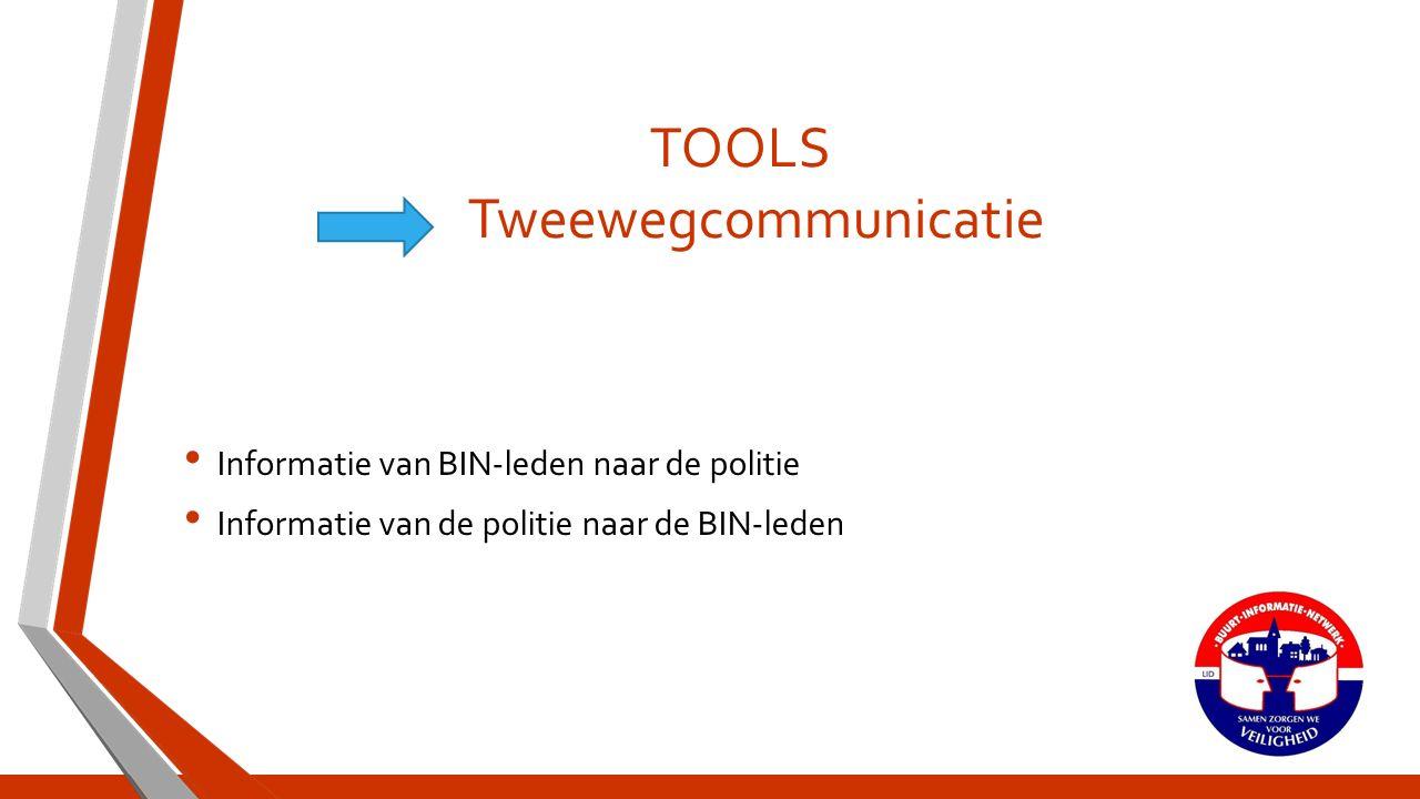 TOOLS Tweewegcommunicatie Informatie van BIN-leden naar de politie Informatie van de politie naar de BIN-leden