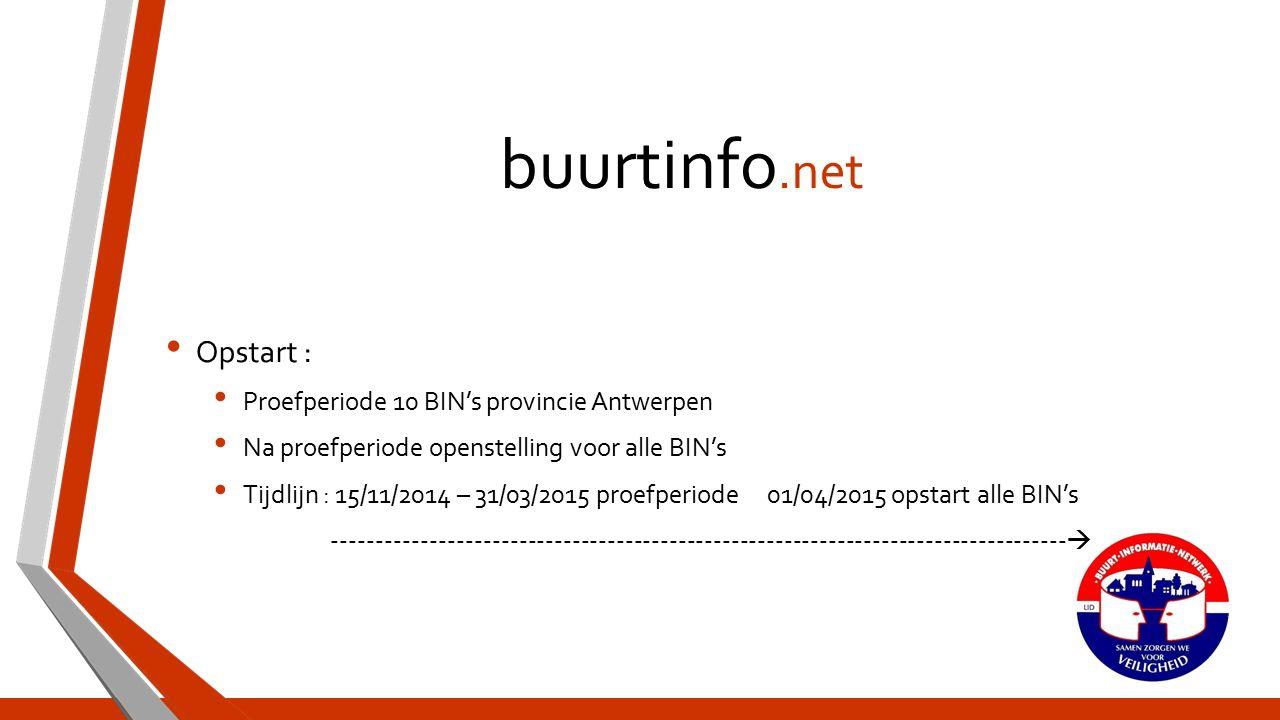 buurtinfo.net Opstart : Proefperiode 10 BIN's provincie Antwerpen Na proefperiode openstelling voor alle BIN's Tijdlijn : 15/11/2014 – 31/03/2015 proefperiode 01/04/2015 opstart alle BIN's ----------------------------------------------------------------------------------- 