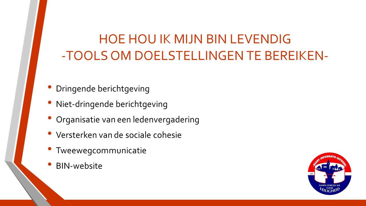 TOOLS Dringende berichtgeving Telefonische berichtgeving via eNOXUS-platform(in de provincie Antwerpen gesponsord door het provinciebestuur) Andere toepassingen(binfoon via Belgacom, text to voice, …) SMS(vooral in gebruik bij zelfstandigen en bedrijven)