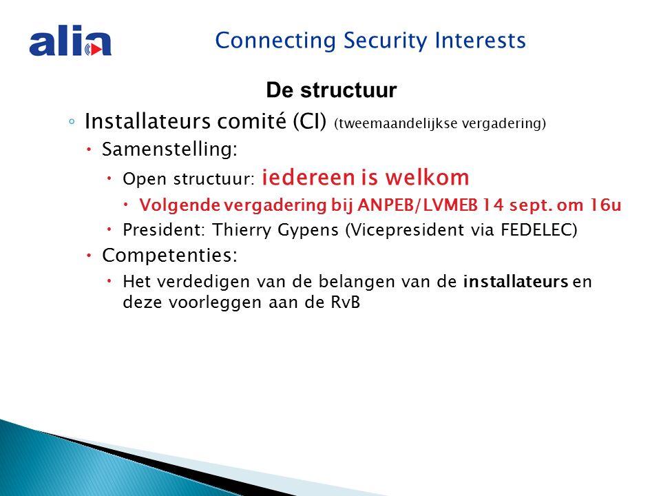 Connecting Security Interests ◦ Installateurs comité (CI) (tweemaandelijkse vergadering)  Samenstelling:  Open structuur: iedereen is welkom  Volgende vergadering bij ANPEB/LVMEB 14 sept.