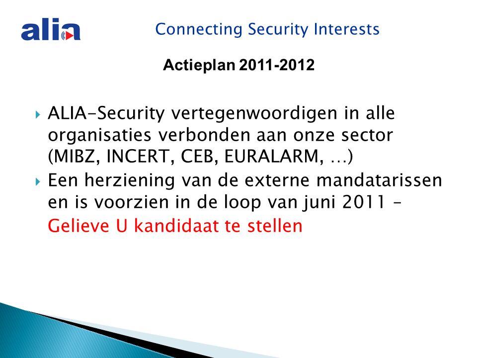 Connecting Security Interests  ALIA-Security vertegenwoordigen in alle organisaties verbonden aan onze sector (MIBZ, INCERT, CEB, EURALARM, …)  Een herziening van de externe mandatarissen en is voorzien in de loop van juni 2011 – Gelieve U kandidaat te stellen Actieplan 2011-2012