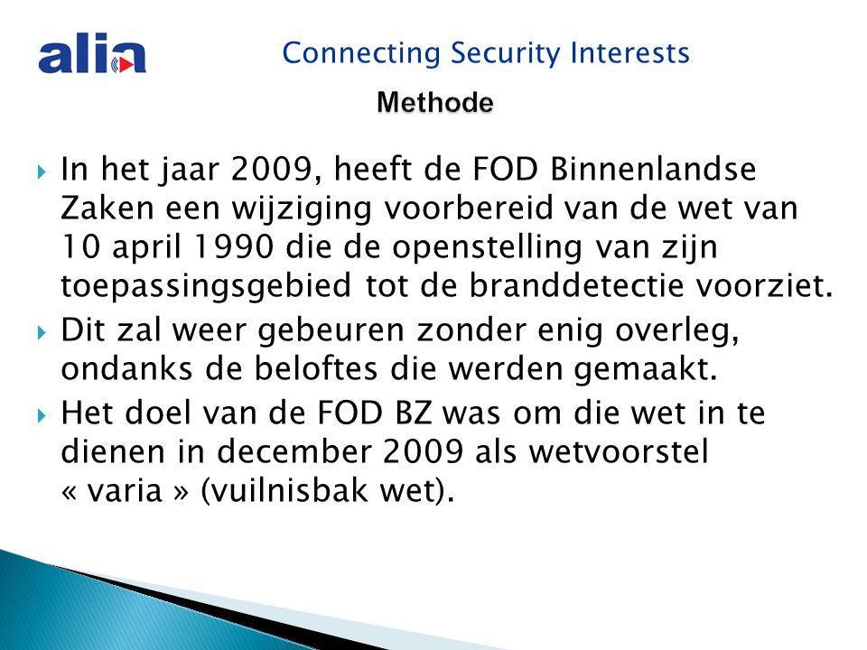 Connecting Security Interests Methode  In het jaar 2009, heeft de FOD Binnenlandse Zaken een wijziging voorbereid van de wet van 10 april 1990 die de openstelling van zijn toepassingsgebied tot de branddetectie voorziet.