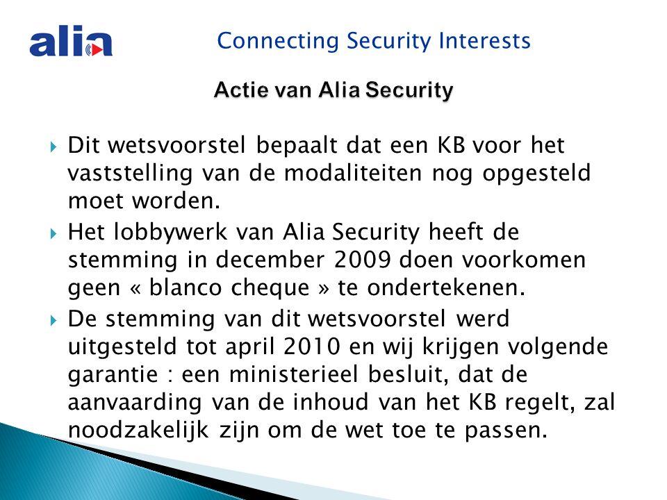 Connecting Security Interests Actie van Alia Security  Dit wetsvoorstel bepaalt dat een KB voor het vaststelling van de modaliteiten nog opgesteld moet worden.
