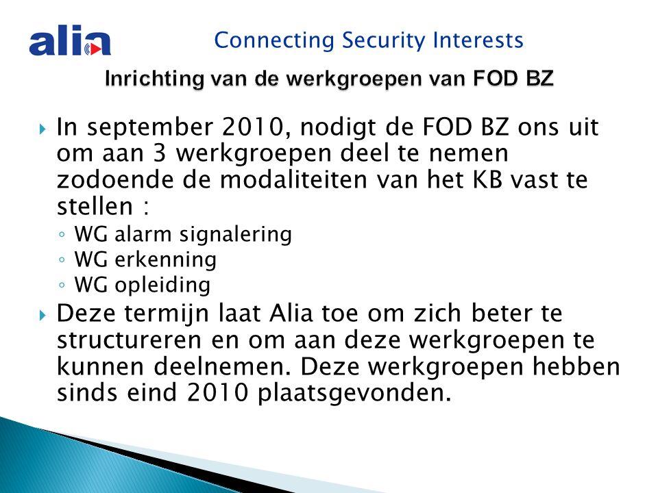 Connecting Security Interests Inrichting van de werkgroepen van FOD BZ  In september 2010, nodigt de FOD BZ ons uit om aan 3 werkgroepen deel te nemen zodoende de modaliteiten van het KB vast te stellen : ◦ WG alarm signalering ◦ WG erkenning ◦ WG opleiding  Deze termijn laat Alia toe om zich beter te structureren en om aan deze werkgroepen te kunnen deelnemen.