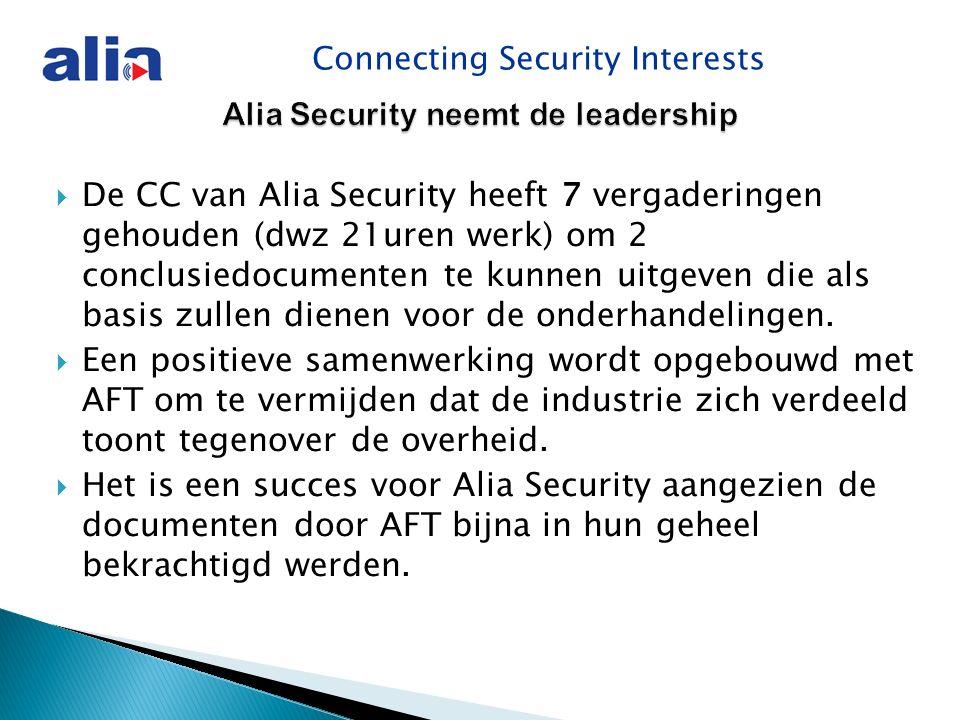 Connecting Security Interests Alia Security neemt de leadership  De CC van Alia Security heeft 7 vergaderingen gehouden (dwz 21uren werk) om 2 conclusiedocumenten te kunnen uitgeven die als basis zullen dienen voor de onderhandelingen.