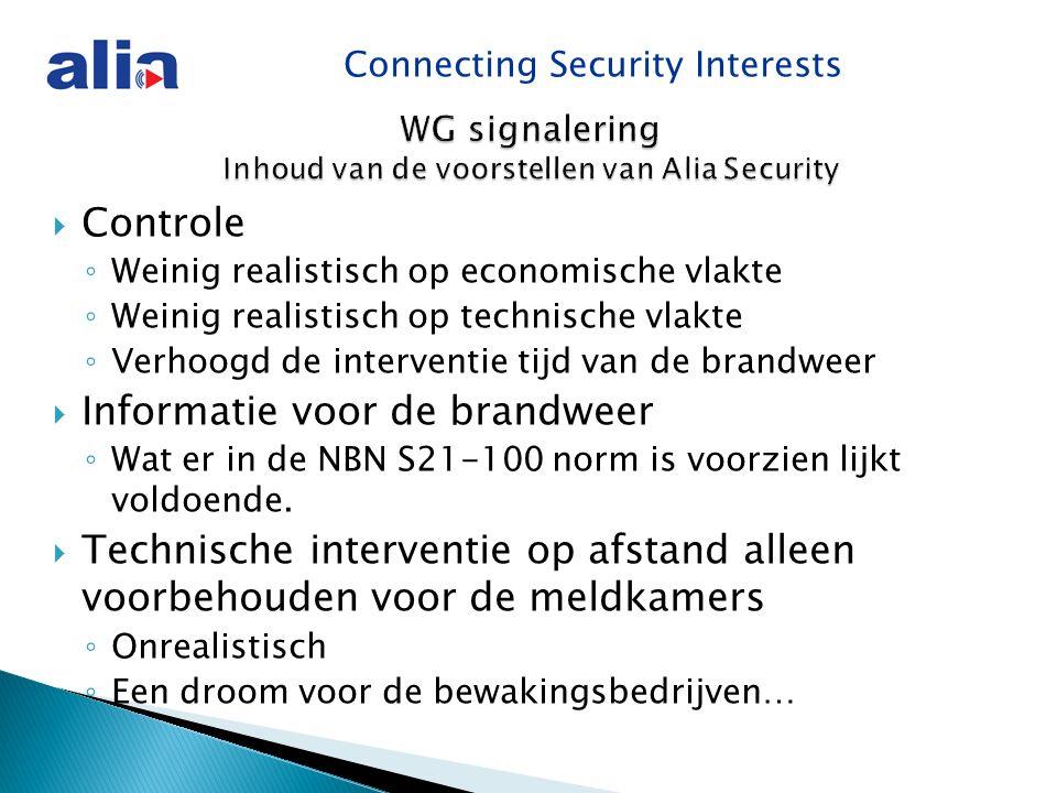 Connecting Security Interests  Controle ◦ Weinig realistisch op economische vlakte ◦ Weinig realistisch op technische vlakte ◦ Verhoogd de interventie tijd van de brandweer  Informatie voor de brandweer ◦ Wat er in de NBN S21-100 norm is voorzien lijkt voldoende.