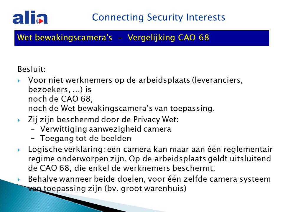 Connecting Security Interests Wet bewakingscamera s - Vergelijking CAO 68 Besluit:  Voor niet werknemers op de arbeidsplaats (leveranciers, bezoekers, …) is noch de CAO 68, noch de Wet bewakingscamera's van toepassing.