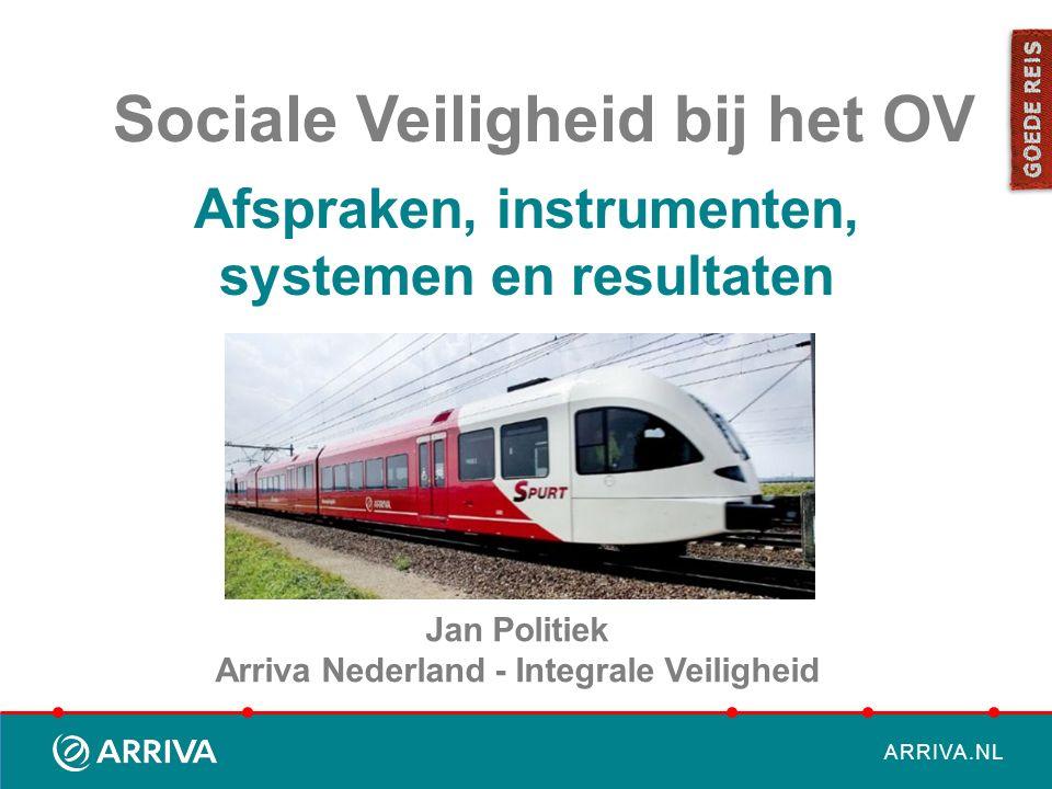 ARRIVA.NL Afspraken, instrumenten, systemen en resultaten Jan Politiek Arriva Nederland - Integrale Veiligheid Sociale Veiligheid bij het OV
