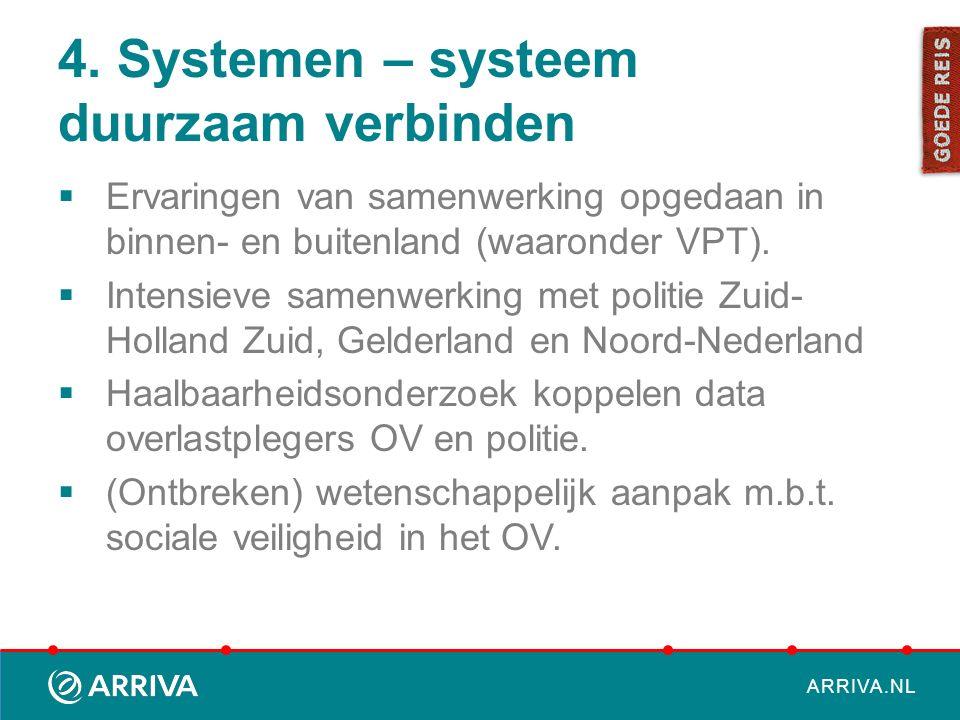 ARRIVA.NL 4. Systemen – systeem duurzaam verbinden  Ervaringen van samenwerking opgedaan in binnen- en buitenland (waaronder VPT).  Intensieve samen