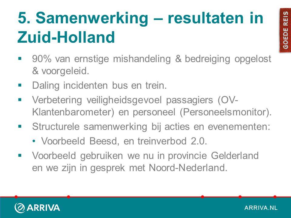 ARRIVA.NL 5. Samenwerking – resultaten in Zuid-Holland  90% van ernstige mishandeling & bedreiging opgelost & voorgeleid.  Daling incidenten bus en