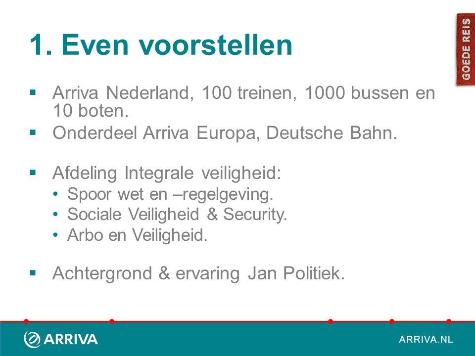 ARRIVA.NL 1. Even voorstellen  Arriva Nederland, 100 treinen, 1000 bussen en 10 boten.  Onderdeel Arriva Europa, Deutsche Bahn.  Afdeling Integrale