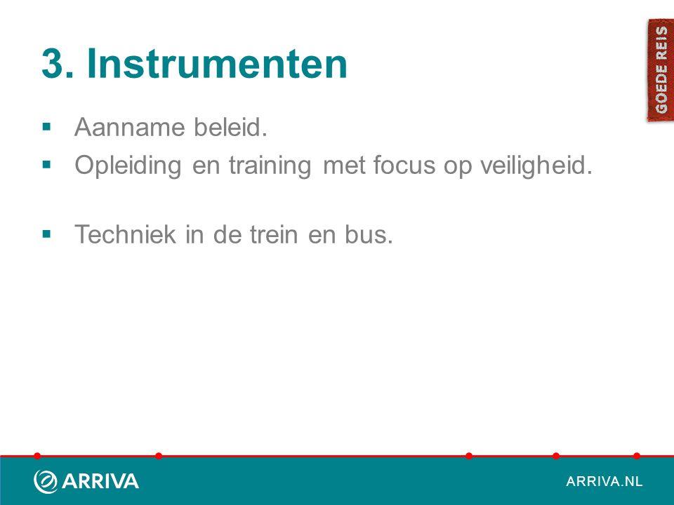 ARRIVA.NL 3. Instrumenten  Aanname beleid.  Opleiding en training met focus op veiligheid.  Techniek in de trein en bus.