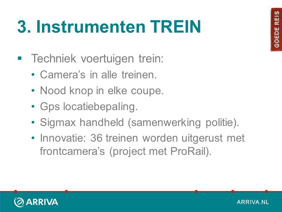 ARRIVA.NL 3. Instrumenten TREIN  Techniek voertuigen trein: Camera's in alle treinen. Nood knop in elke coupe. Gps locatiebepaling. Sigmax handheld (
