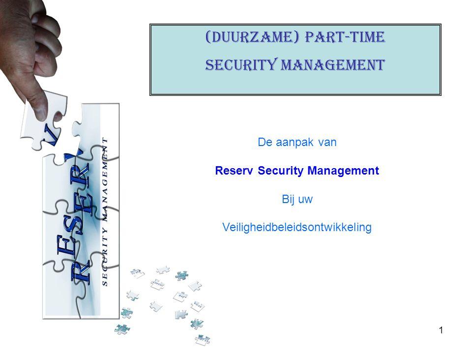 1 (Duurzame) PART-TIME Security management De aanpak van Reserv Security Management Bij uw Veiligheidbeleidsontwikkeling