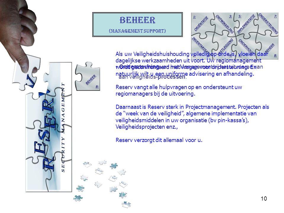 10 BEHEER (Management support) Ondersteuning van het Management bij het uitvoeren van aan veiligheids-processen. Als uw Veiligheidshuishouding volledi