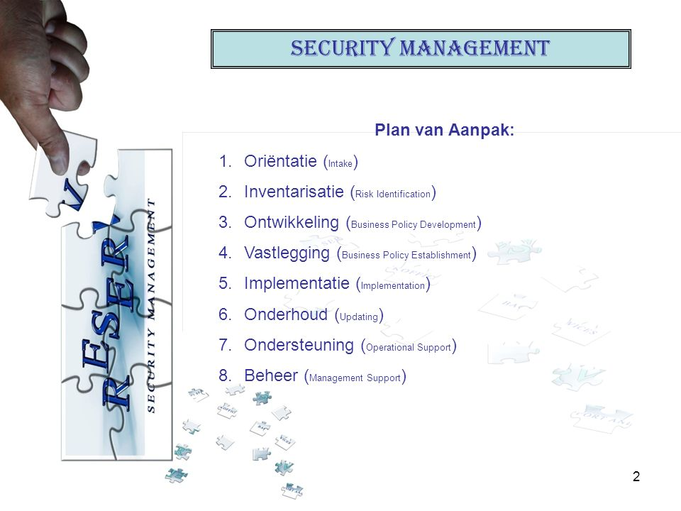 2 Security Management Plan van Aanpak: 1.Oriëntatie ( Intake ) 2.Inventarisatie ( Risk Identification ) 3.Ontwikkeling ( Business Policy Development ) 4.Vastlegging ( Business Policy Establishment ) 5.Implementatie ( Implementation ) 6.Onderhoud ( Updating ) 7.Ondersteuning ( Operational Support ) 8.Beheer ( Management Support )