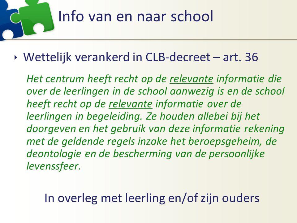 Info van en naar school  Wettelijk verankerd in CLB-decreet – art. 36 Het centrum heeft recht op de relevante informatie die over de leerlingen in de