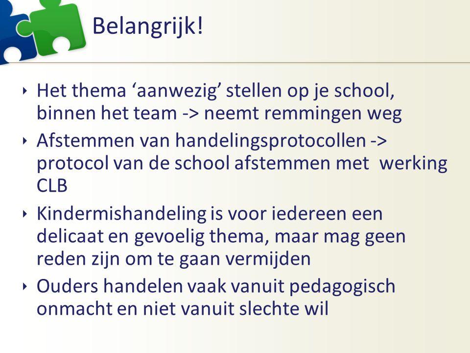 Belangrijk!  Het thema 'aanwezig' stellen op je school, binnen het team -> neemt remmingen weg  Afstemmen van handelingsprotocollen -> protocol van