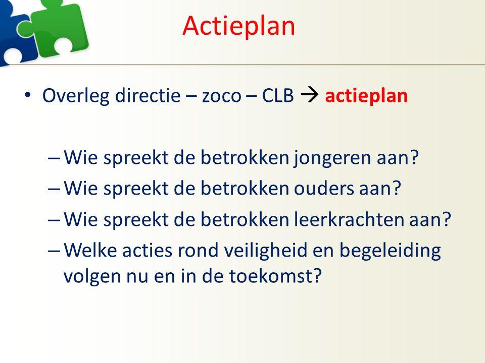 Actieplan Overleg directie – zoco – CLB  actieplan – Wie spreekt de betrokken jongeren aan? – Wie spreekt de betrokken ouders aan? – Wie spreekt de b