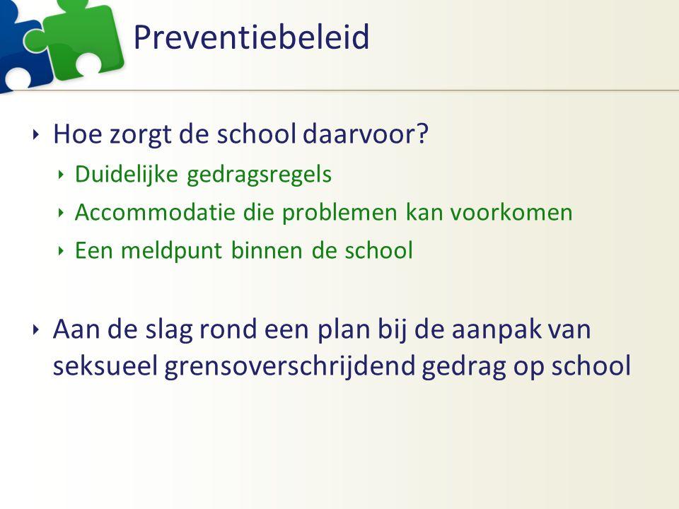 Preventiebeleid  Hoe zorgt de school daarvoor?  Duidelijke gedragsregels  Accommodatie die problemen kan voorkomen  Een meldpunt binnen de school