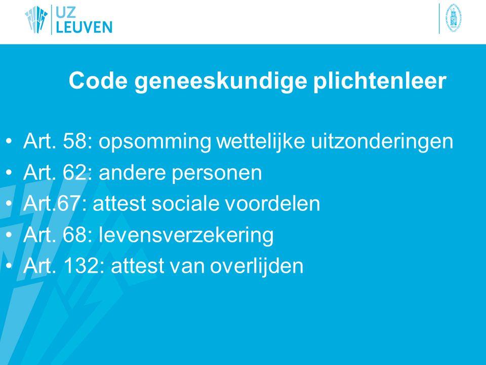 Code geneeskundige plichtenleer Art. 58: opsomming wettelijke uitzonderingen Art. 62: andere personen Art.67: attest sociale voordelen Art. 68: levens