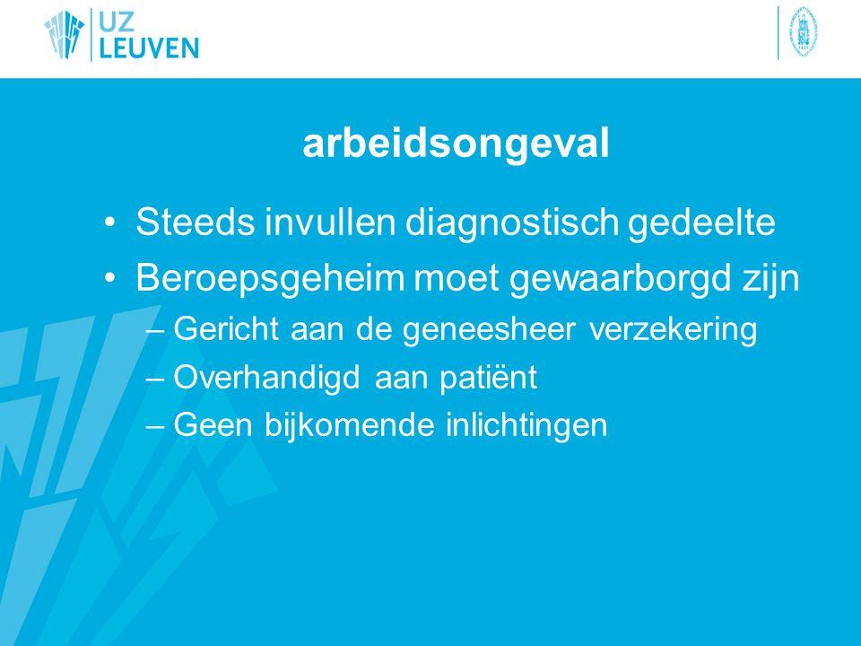 arbeidsongeval Steeds invullen diagnostisch gedeelte Beroepsgeheim moet gewaarborgd zijn –Gericht aan de geneesheer verzekering –Overhandigd aan patiënt –Geen bijkomende inlichtingen
