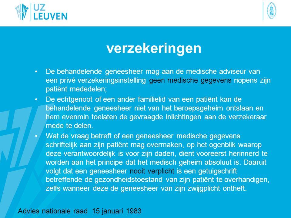 verzekeringen De behandelende geneesheer mag aan de medische adviseur van een privé verzekeringsinstelling geen medische gegevens nopens zijn patiënt