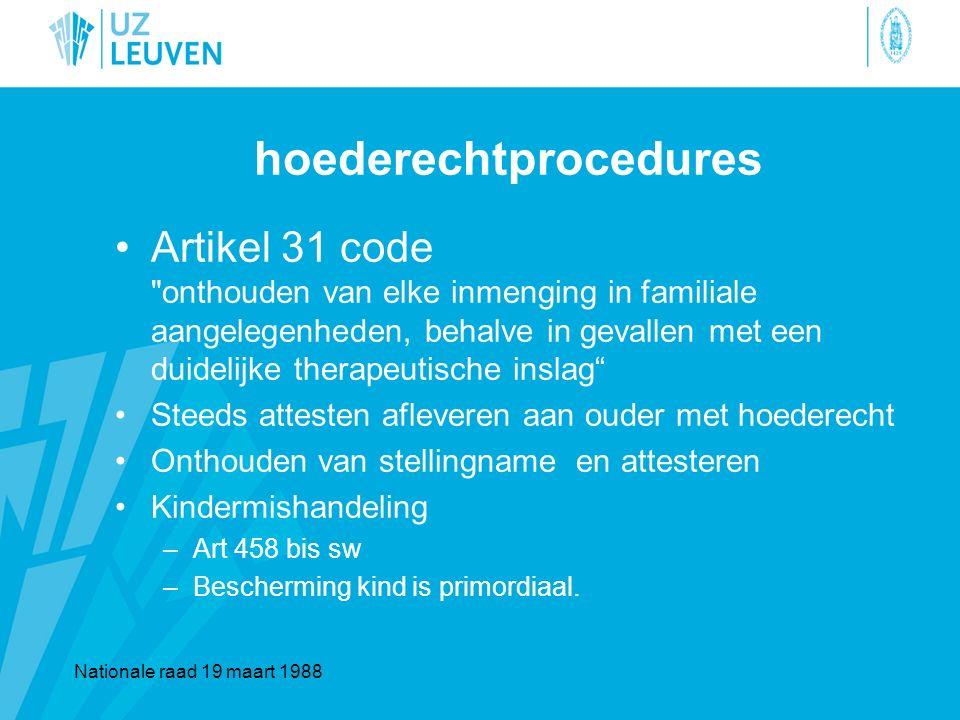 hoederechtprocedures Artikel 31 code