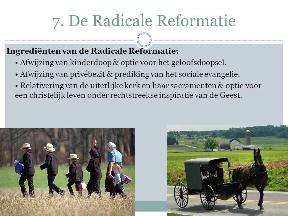 7. De Radicale Reformatie Ingrediënten van de Radicale Reformatie: Afwijzing van kinderdoop & optie voor het geloofsdoopsel. Afwijzing van privébezit