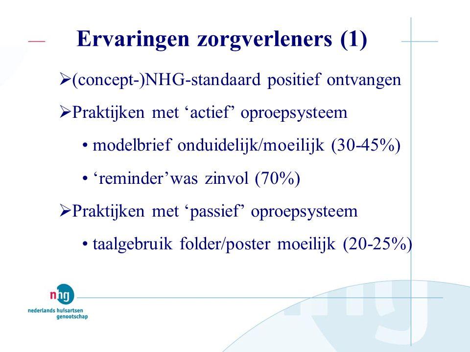 Ervaringen zorgverleners (1)  (concept-)NHG-standaard positief ontvangen  Praktijken met 'actief' oproepsysteem modelbrief onduidelijk/moeilijk (30-45%) 'reminder'was zinvol (70%)  Praktijken met 'passief' oproepsysteem taalgebruik folder/poster moeilijk (20-25%)