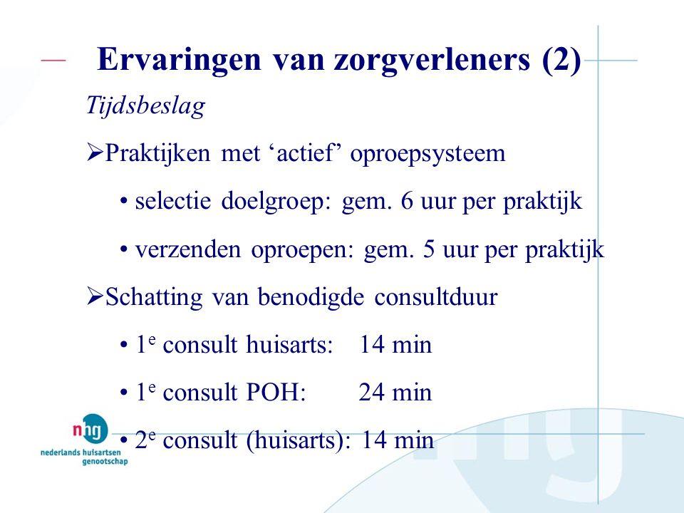 Ervaringen van zorgverleners (2) Tijdsbeslag  Praktijken met 'actief' oproepsysteem selectie doelgroep: gem.
