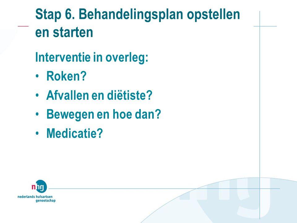 Stap 6. Behandelingsplan opstellen en starten Interventie in overleg: Roken.