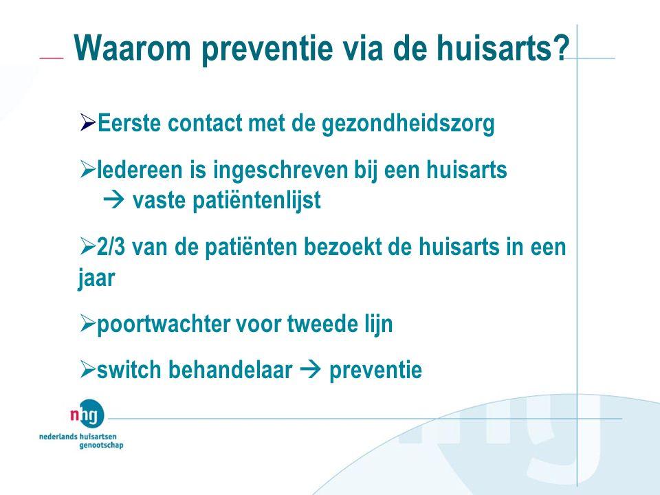  Grote tevredenheid van deelnemers over de consulten in de huisartsenpraktijk  actief oproepen: ca 11 uur per praktijk 2-3 consulteenheden per patiënt Belangrijkste resultaten (2)