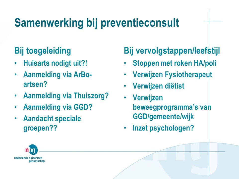 Samenwerking bij preventieconsult Bij toegeleiding Huisarts nodigt uit .
