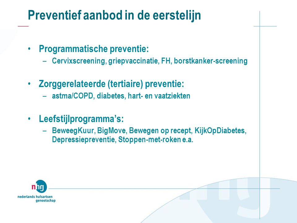 Preventief aanbod in de eerstelijn Programmatische preventie: – Cervixscreening, griepvaccinatie, FH, borstkanker-screening Zorggerelateerde (tertiaire) preventie: – astma/COPD, diabetes, hart- en vaatziekten Leefstijlprogramma's: – BeweegKuur, BigMove, Bewegen op recept, KijkOpDiabetes, Depressiepreventie, Stoppen-met-roken e.a.