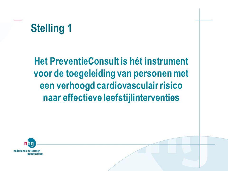 Stelling 1 Het PreventieConsult is hét instrument voor de toegeleiding van personen met een verhoogd cardiovasculair risico naar effectieve leefstijlinterventies