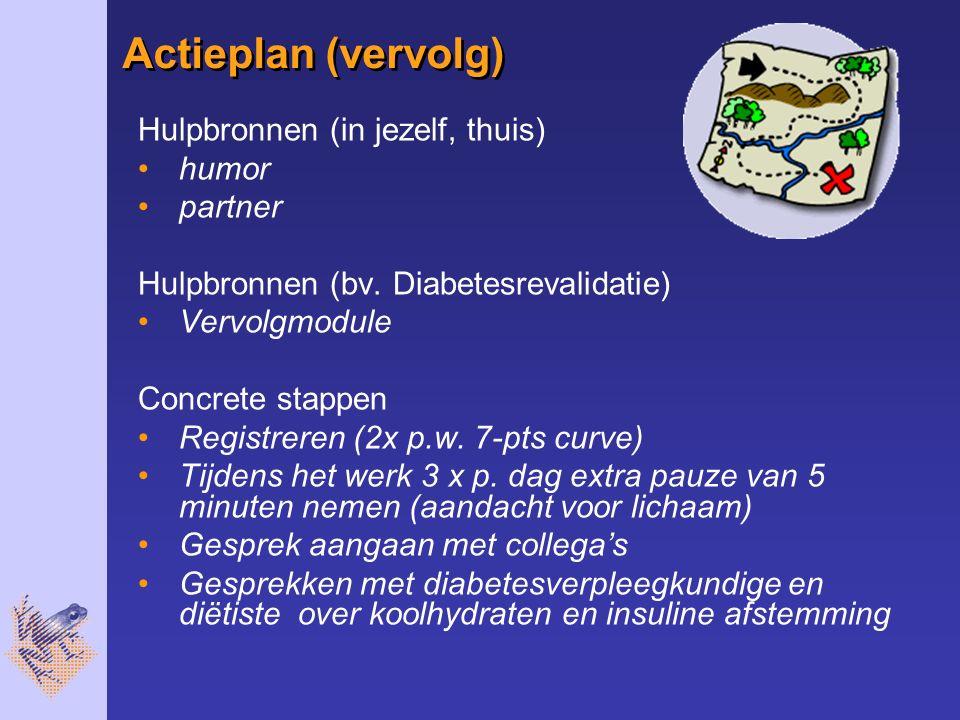 Actieplan (vervolg) Hulpbronnen (in jezelf, thuis) humor partner Hulpbronnen (bv. Diabetesrevalidatie) Vervolgmodule Concrete stappen Registreren (2x