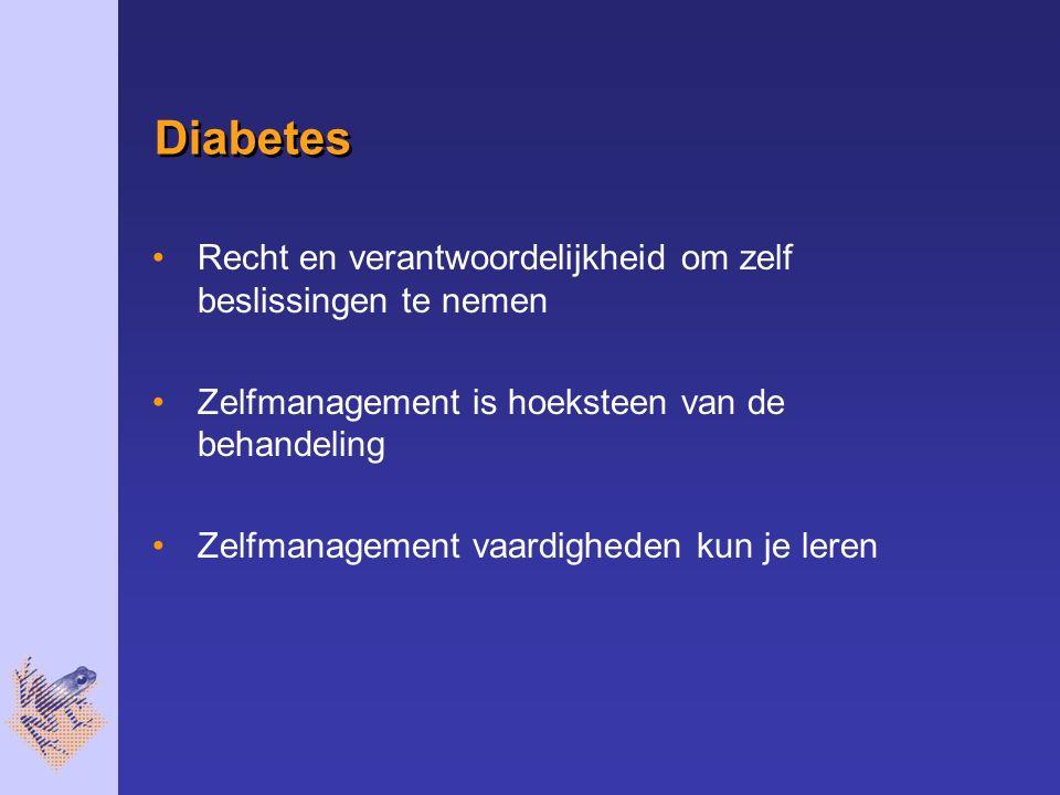 Diabetes Recht en verantwoordelijkheid om zelf beslissingen te nemen Zelfmanagement is hoeksteen van de behandeling Zelfmanagement vaardigheden kun je