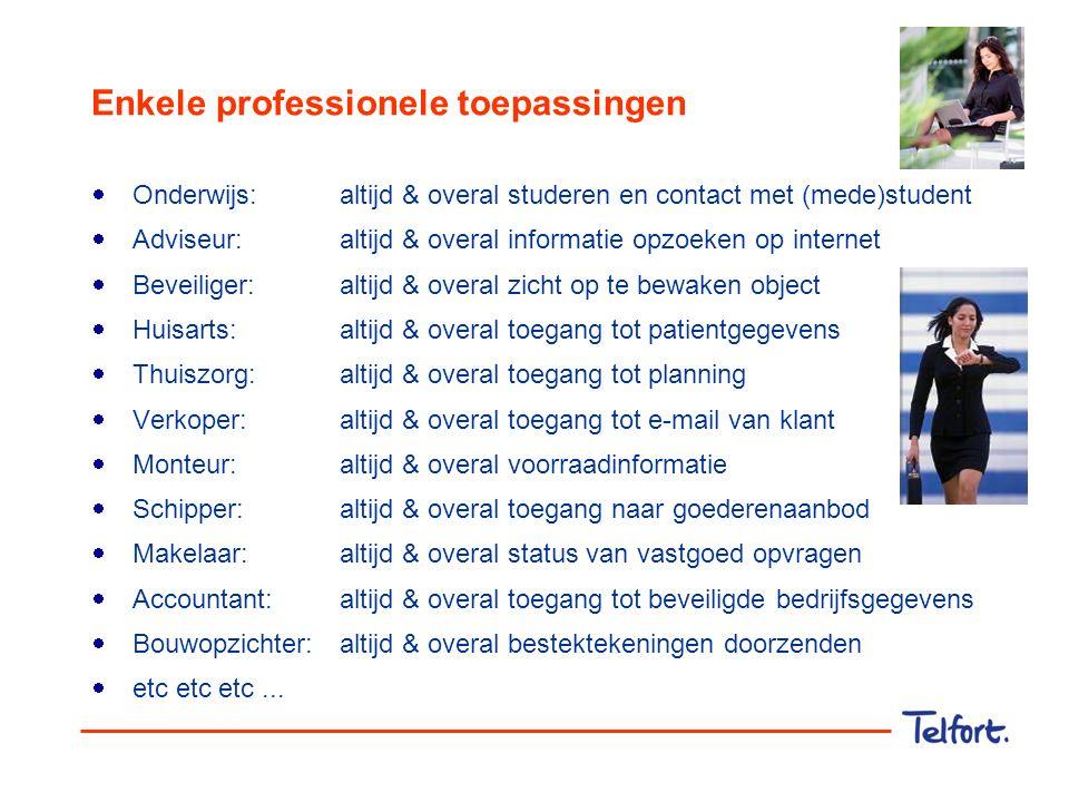 Enkele professionele toepassingen  Onderwijs:altijd & overal studeren en contact met (mede)student  Adviseur:altijd & overal informatie opzoeken op