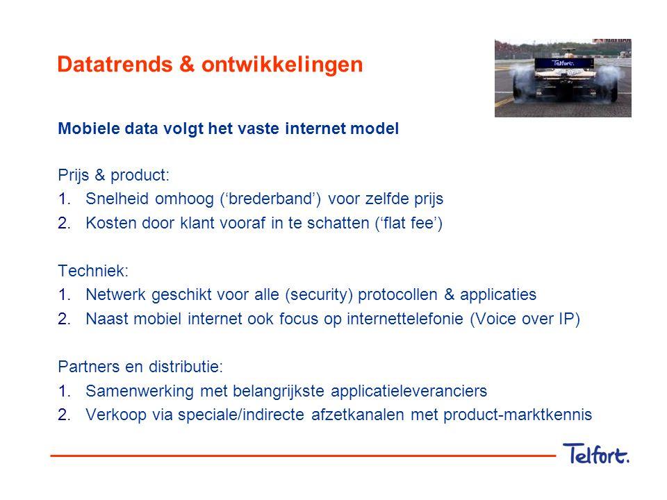 Datatrends & ontwikkelingen Mobiele data volgt het vaste internet model Prijs & product: 1.Snelheid omhoog ('brederband') voor zelfde prijs 2.Kosten d