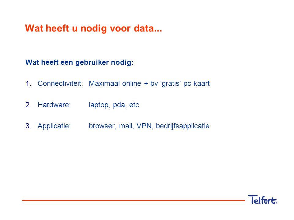 Wat heeft u nodig voor data... Wat heeft een gebruiker nodig: 1.Connectiviteit:Maximaal online + bv 'gratis' pc-kaart 2.Hardware: laptop, pda, etc 3.A