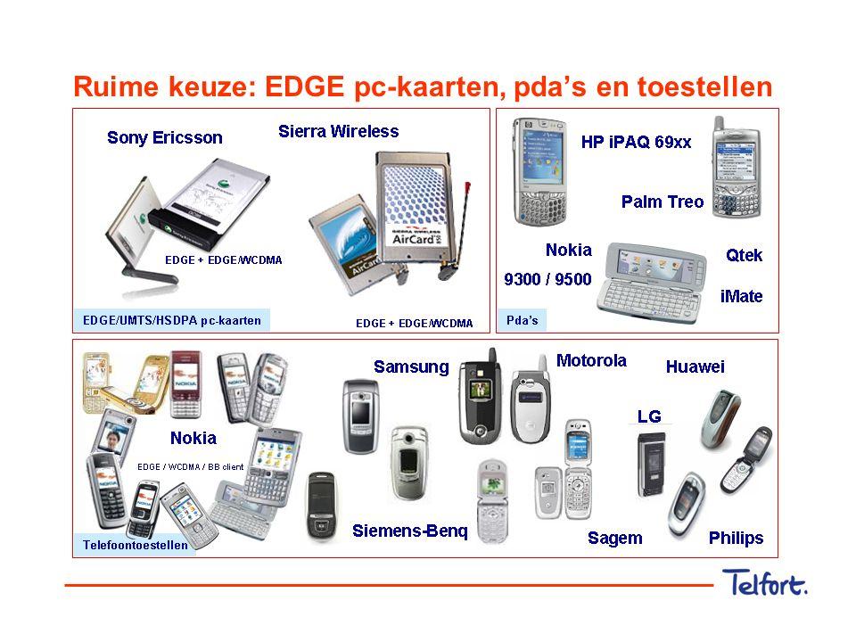 Ruime keuze: EDGE pc-kaarten, pda's en toestellen