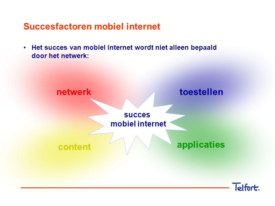 Succesfactoren mobiel internet netwerk applicaties toestellen content succes mobiel internet Het succes van mobiel internet wordt niet alleen bepaald