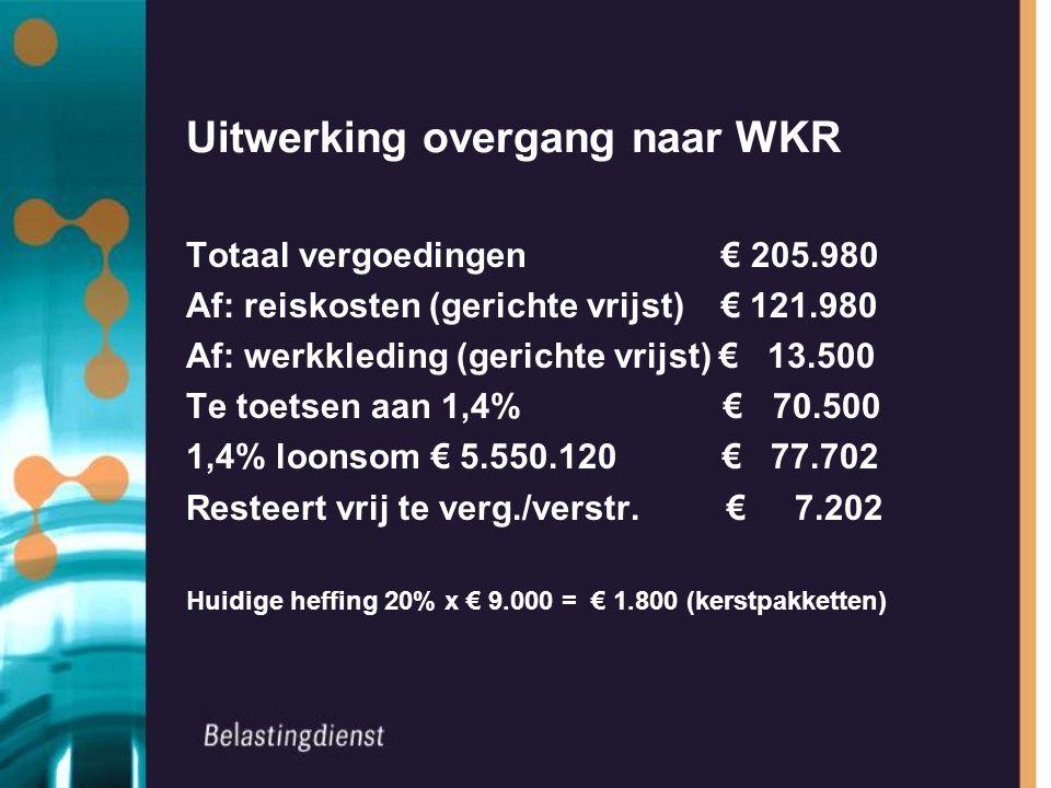 Uitwerking overgang naar WKR Totaal vergoedingen € 205.980 Af: reiskosten (gerichte vrijst) € 121.980 Af: werkkleding (gerichte vrijst) € 13.500 Te toetsen aan 1,4% € 70.500 1,4% loonsom € 5.550.120 € 77.702 Resteert vrij te verg./verstr.