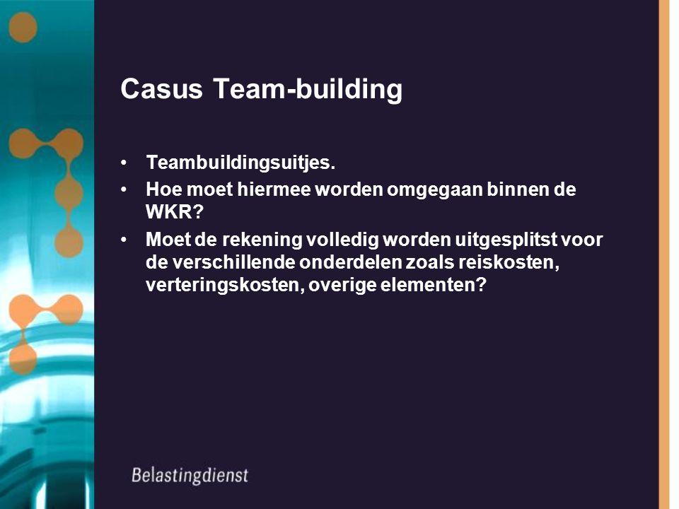 Casus Team-building Teambuildingsuitjes. Hoe moet hiermee worden omgegaan binnen de WKR.