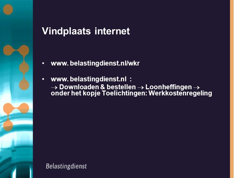 Vindplaats internet www. belastingdienst.nl/wkr www.