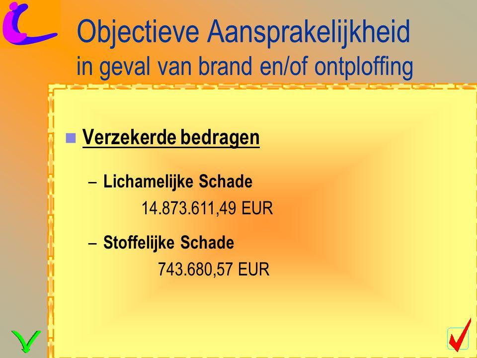 Objectieve Aansprakelijkheid in geval van brand en/of ontploffing Verzekerde bedragen – Lichamelijke Schade 14.873.611,49 EUR – Stoffelijke Schade 743.680,57 EUR