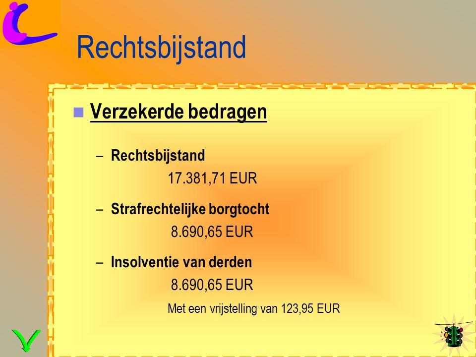 Rechtsbijstand Verzekerde bedragen – Rechtsbijstand 17.381,71 EUR – Strafrechtelijke borgtocht 8.690,65 EUR – Insolventie van derden 8.690,65 EUR Met een vrijstelling van 123,95 EUR
