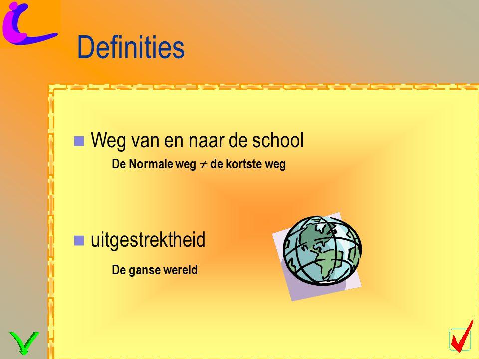 Definities uitgestrektheid De ganse wereld Weg van en naar de school De Normale weg  de kortste weg