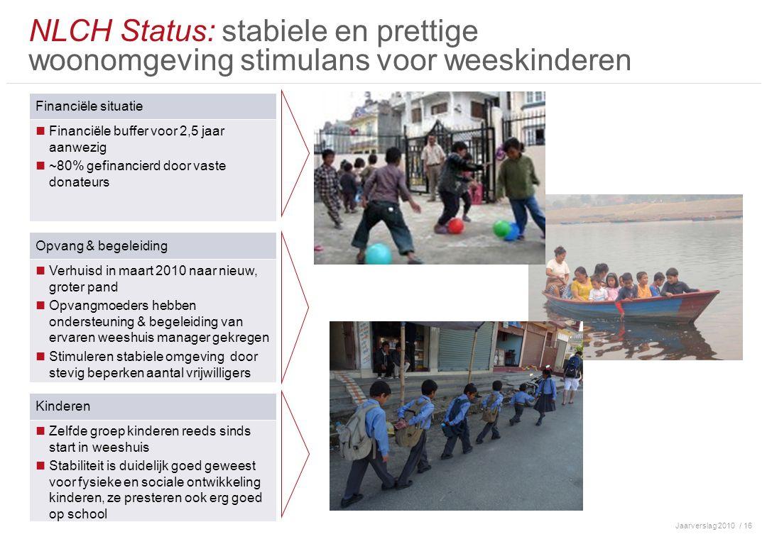 Jaarverslag 2010/ 16 NLCH Status: stabiele en prettige woonomgeving stimulans voor weeskinderen Financiële situatie Financiële buffer voor 2,5 jaar aa